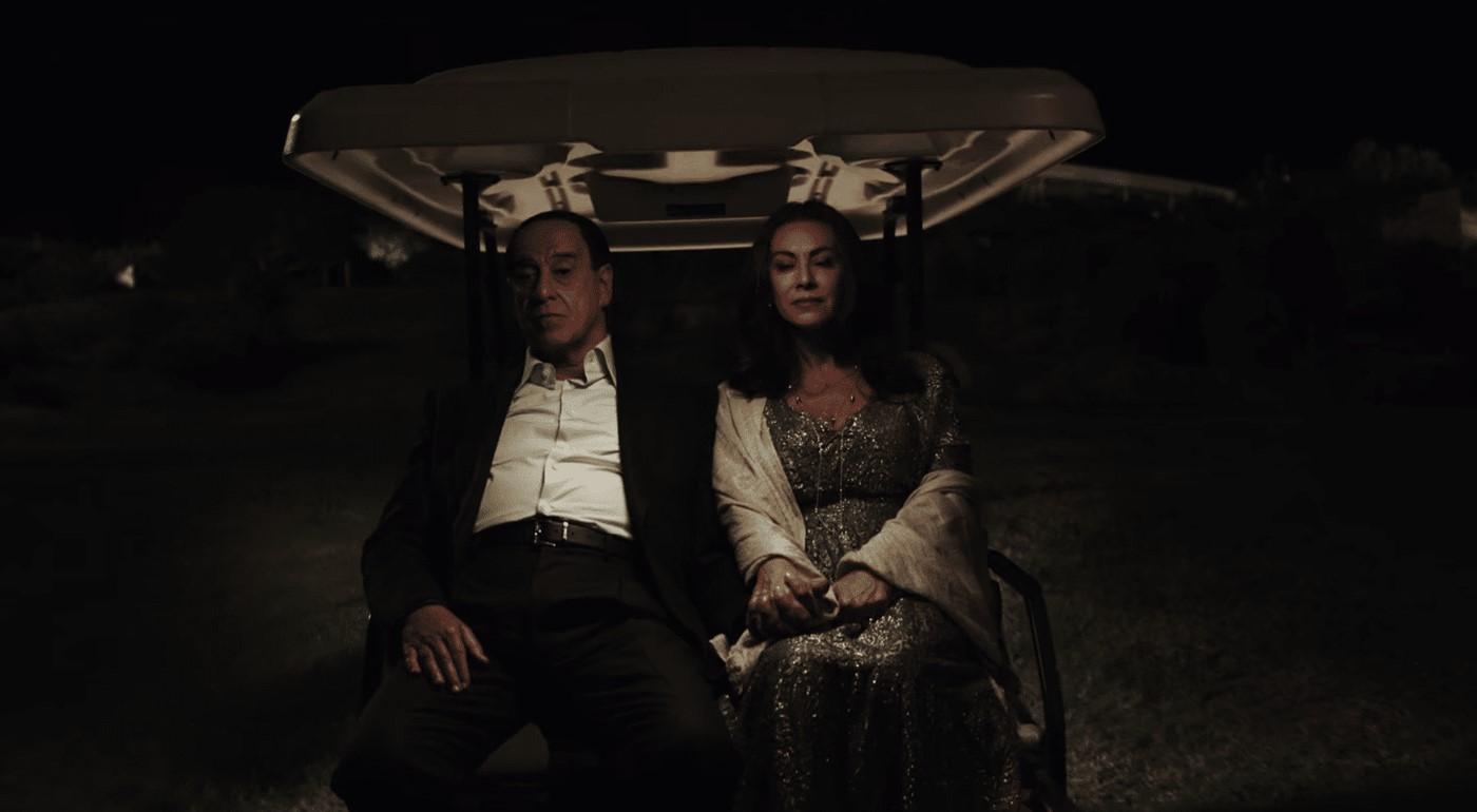 Scene from movie Loro with Toni Servillo and Elena Sofia Ricci